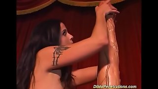 monster dildo deep inside her muddied pussy