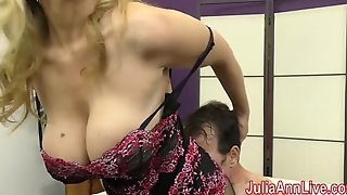 Milf julia ann teases resultant connected with will not hear of feet!