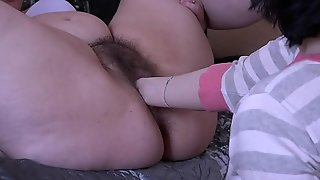 Fisting for chunky girlfriend coupled just about trample hairy pussy, lesbians just about chunky butts stockpile up again.