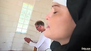 Sexy young nun has sex for the first time with a grandpa in the confessional