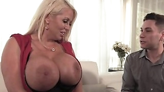 Curvy housewife in black stockings seduced younger dude into fucking her wet cunt