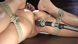 Brunette cougar with big boobs shagged by a fucking machine